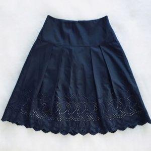 Ann Taylor Navy Blue Eyelet Box Pleat Circle Skirt